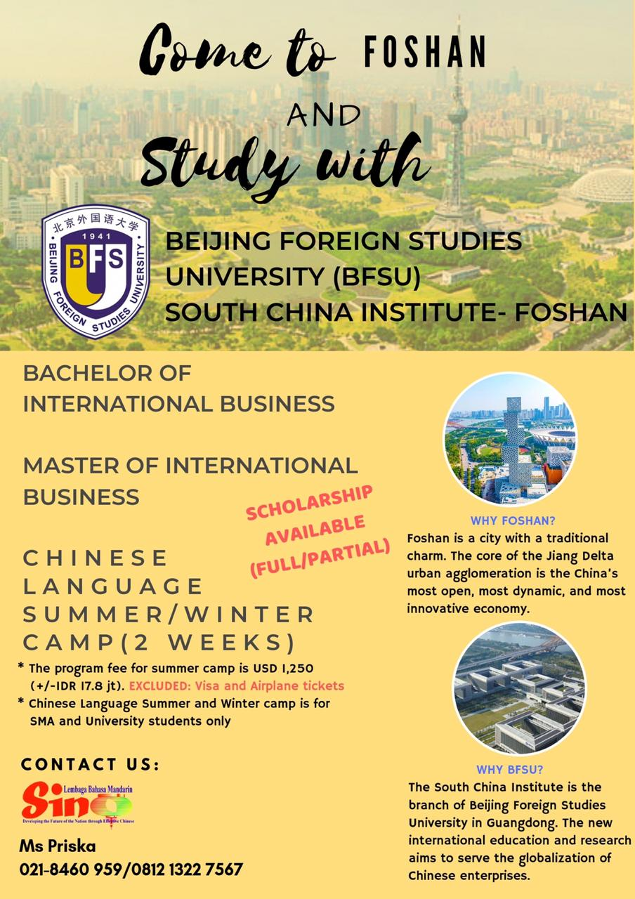 COME TO FOSHAN AND STUDY WITH BEIJING FOREIGN STUDIES UNIVERSITY